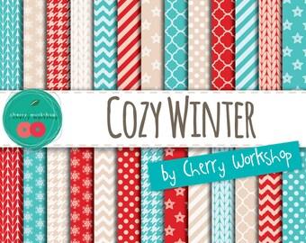 Winter Digital Paper Pack 'Cozy Winter' - Winter Patterns Digital Paper Pack / Printable Paper / Instant Download