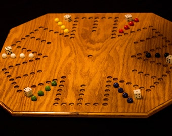 Handmade Oak  6 Player Aggravation Board (7 holes by 7 holes)