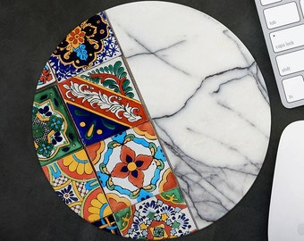 Red Mouse Pad Mousepad Marble Mouse Mat Moroccan Tile MousePad Office Gift Mousemat Round Mousemat Morocco Mousepad Modern Desk Accessories