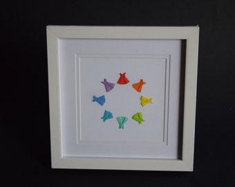 Circle of rainbow origami dresses frame