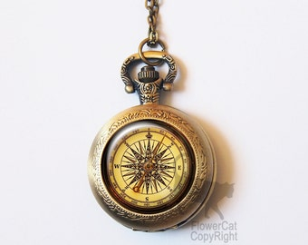 Vintage compass Pocket Watch Necklace, antique compass, retro Navigation, Vintage Gold or Silver Pocket Watch