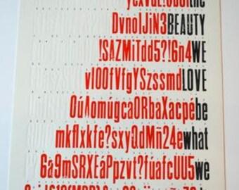 Letterpress printed broadside: Rumi quote