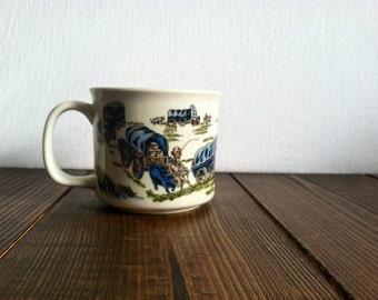 Vintage Covered Wagon Scene Mug