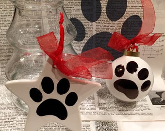 Black and White Hand decorated ceramic Pet PAW ornament