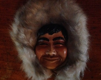 Vintage Chalk ware Eskimo Face