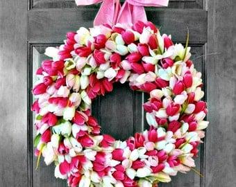 Spring Wreath, Front Door Decoration, Door Wreath, Spring Wreaths for Front Door, Tulip Wreath, Front Door Decor,