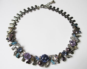 Swarovski crystal collar necklace, Tanzanite stone necklace