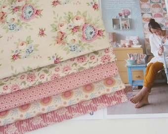 NEW from Tilda ' Spring Diaries ' 1950's Retro Inspired Honey and Pink Floral Quilting and Craft Fabric Fat Quarter Bundle x 5