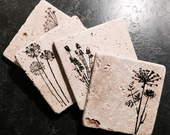 Wildflower Coasters ~ Floral Coasters ~ Natural Stone Tile Coasters ~Coasters ~ Set of 4 Stone Coasters
