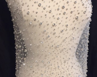 Rhinestone beaded applique great rhinestone fabric vintage for Wedding dress fabric samples