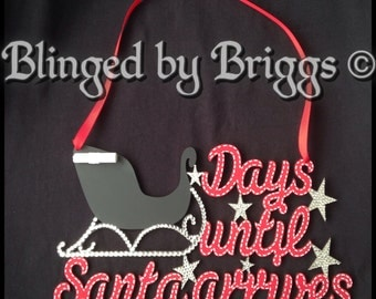 Christmas  Plaque   '... days until Santa arrives'  with added rhinestones