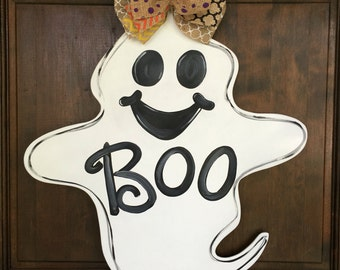 Ghost Door Hanger for Halloween Wood Hand Painted