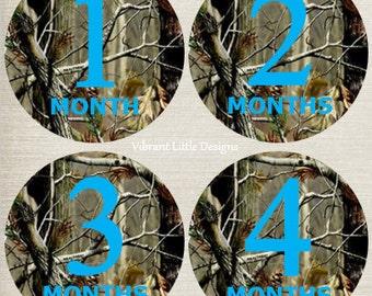 Monthly Stickers Boy, Milestone Stickers, Month Stickers, Baby Month Stickers, Baby Stickers, Camo, Hunting #49