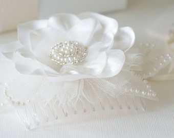 Ivory satin and tulle flower comb