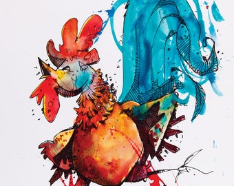 Rooster watercolor painting