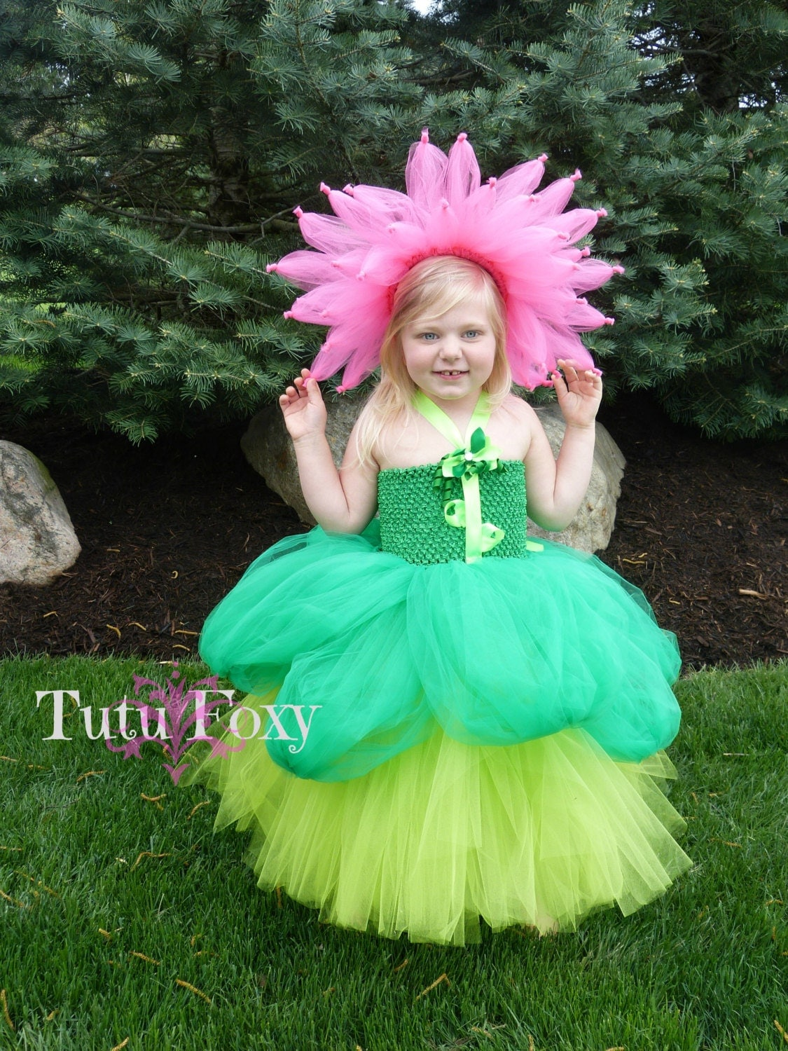 Flower Costume Flower Tutu Dress Flower Tutu Halloween by TutuFoxy