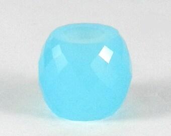 On sale - 2 pcs - Aqua Chalcedony - 11*13mm - Barrel - Facet Beads - 5mm Big hole - Large hole bead - bracelet - Gemstone - SHBD142
