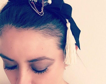 Velvet and embroidered headband