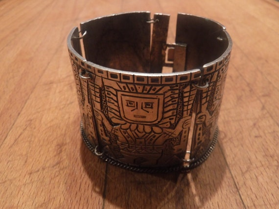 "Vintage Heavy Peruvian Inca Sterling Silver Panel Bracelet Heavy 87.4 grams 6.5"" Long 1. 9/16"" wide  Peruana Handmade Silver Panel Bracelet"