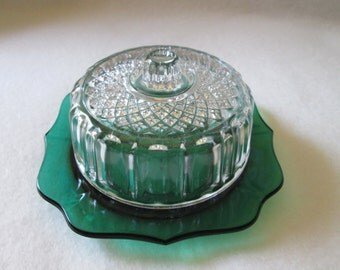 Vintage Green Butter Dish With A Clear Glass Pressed Top