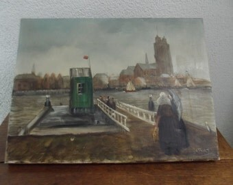 Decorative Dutch oil painting, riverview