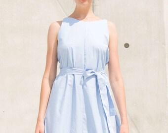 Blue Dress, Minimalistic Dress, Reversible Dress, Sky Blue dress, Belt Dress, Two sides dress, Onesize dress, Cotton Dress, Maternity Dress