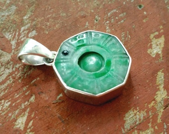 Bagua, Amulet, Pendant, Good Luck, Carved Jade, Octagon, Sterling Silver