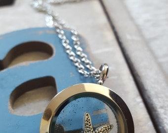 Silver starfish locket, necklace, La Jolla, San Diego, sand, beach, ocean, charm, gift,