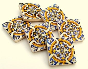 Azulejos Portugueses Blue and Yellow tile buttons 20mm