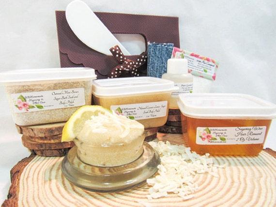 Natural Coconut Lemon Scrub Sugaring Wax Deluxe Starter Kit