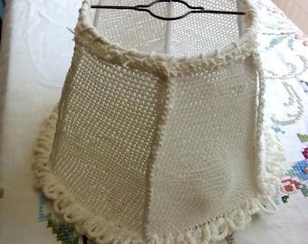 1960 1970 cream crochet lampshade.