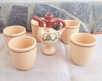 Set of five Antique Traditional Bulgarian  pottery liquor-cider, and pottery Collectible whistle, Bulgarian Folk pottery set, table set