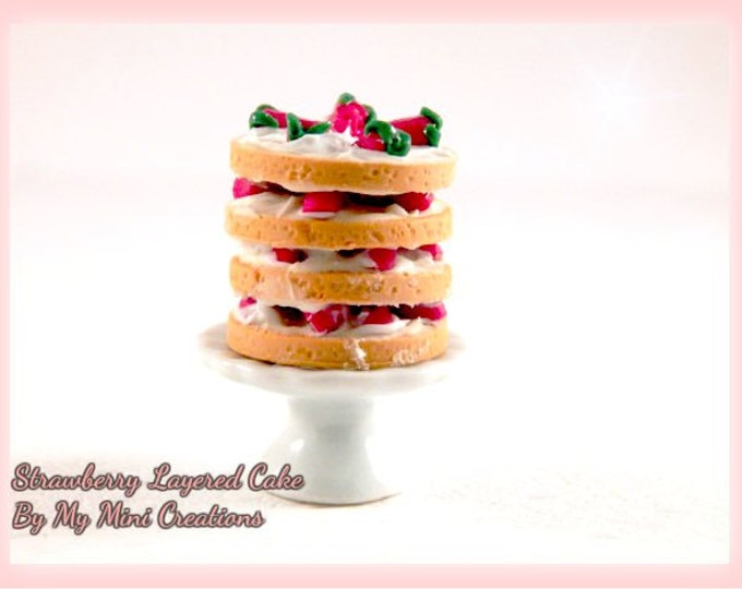 Handmade Polymer clay Strawberry Cake , Miniature food, miniature food jewelry