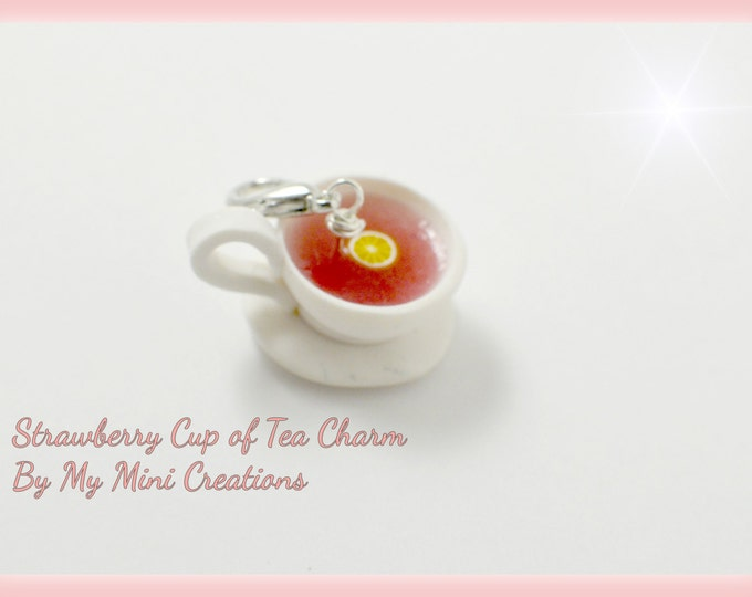 Strawberry Cup of Tea Charm, Polymer clay, Miniature food, Miniature Food Jewelry
