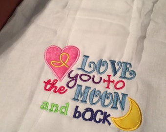 I love you to the moon embroidered baby burp cloth