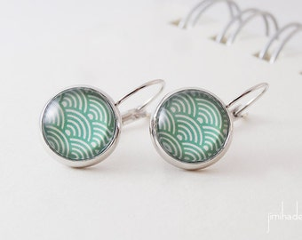 Earrings with green print Japanese waves pattern >> Valentine's Day present for her