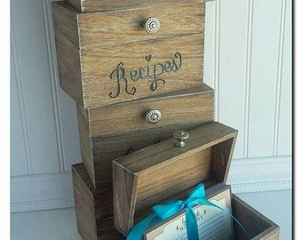 Recipe Box with silver knob, holds 4x6 cards, SASREC502