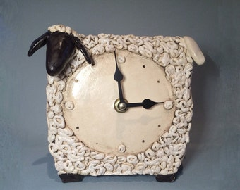 Ceramic clock , Sheep handmade ceramic clock, Table clock, Black and white, Made to order