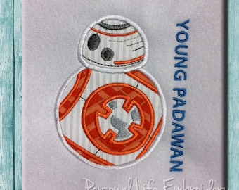 BB-8 Young Padawan Star Wars Droid Machine Embroidery Design Digital Applique Pattern INSTANT DOWNLOAD BB8 Luke Leia Darth R2D2 Inspired