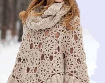 Femmes poncho beige crochet / custom