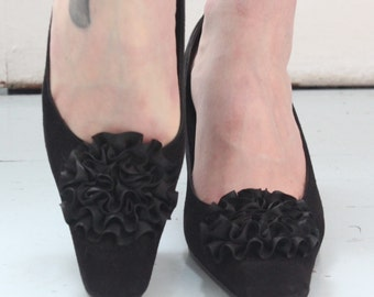 Feminine Vintage Suede Shoes Made By Sacha London In Spain With Satin Ruffled Detail