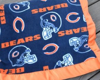 Chicago Bears Fleece Blanket with Orange Satin Binding