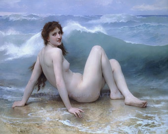 """William Bouguereau """"The Wave"""" 1896  Reproduction Digital Print Beauty Sitting on the Beach Ocean Waves"""