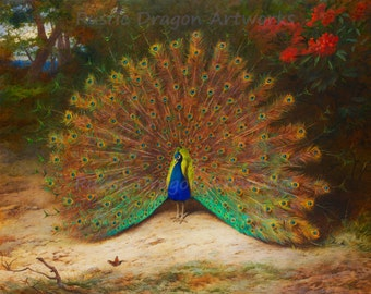 "Archibald Thorburn ""Peacock and Peacock Butterfly"" 1917  Reproduction Digital Print Bird Wildlife Nature"