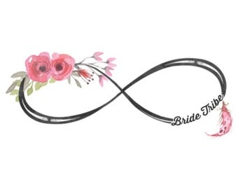 Beautiful floral infinity Bride Tribe tattoos, Bachelorette Party, boho Tattoos, bridal party gifts, party tattoos, bohemian wedding party