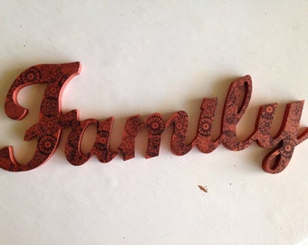 Family wooden sign home decor copper