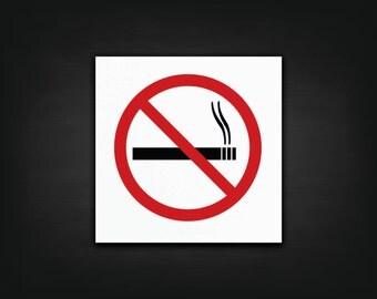 No Smoking Decal - No Smoking Symbol Sticker, Business Decal