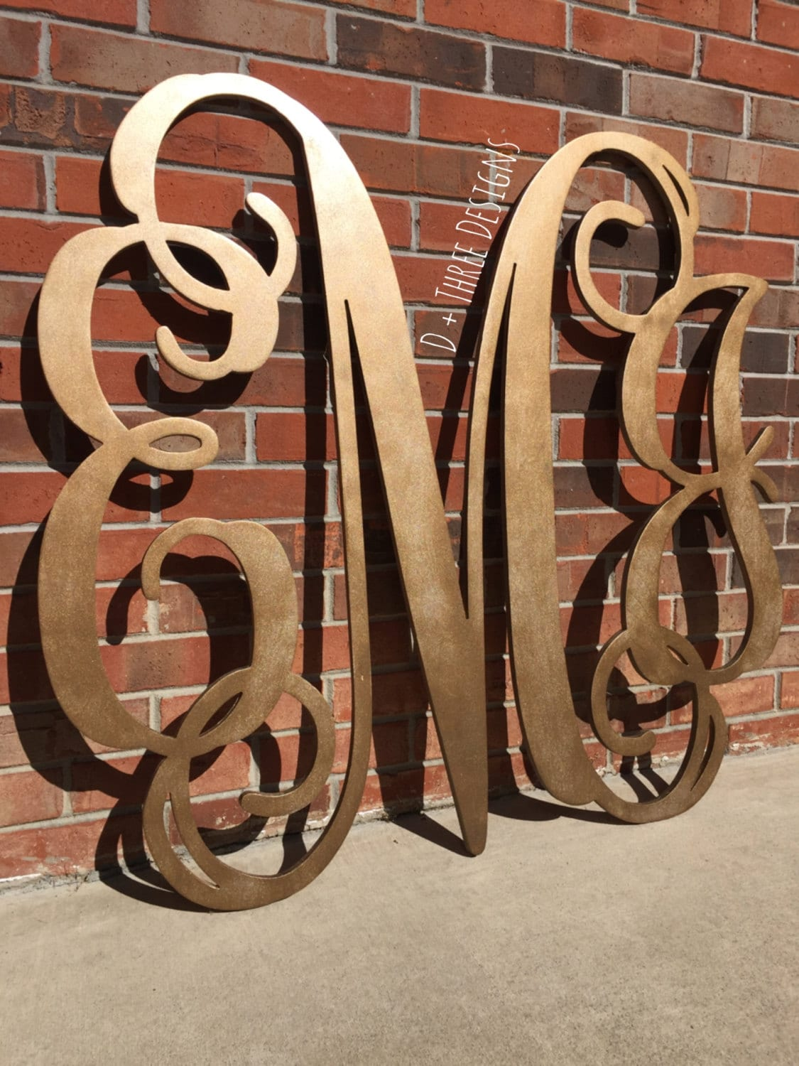 36 Inch Wooden Monogram Painted Bronze Wooden Letters