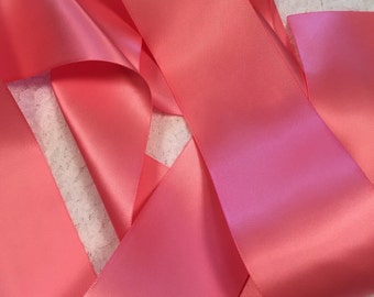 Coral Satin Ribbon/Coral Rose Satin Ribbon/Coral Ribbon/Coral Bridal Belt/Wedding Dress Sash/Coral Flower Girl Belt/Pink Satin Ribbon