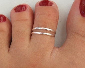 Silver Toe Ring, Silver Knuckle Ring, Silver Adjustable Ring, Two Bands Ring, Double Band Ring, Double Lines Ring, Two Lines Ring